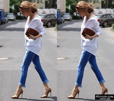 Best street style outfits of the week #street #style #outfit #casual #fashion #blogger #heels #skinny #cropped #jeans #white #button #down #shirt #clutch #relaxed #minimalistic #wardrobe #basic #officewear #workwear