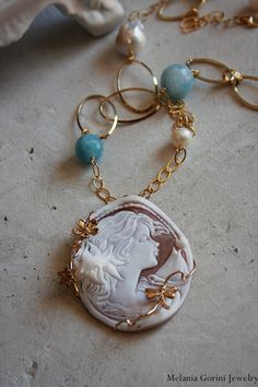 Vermeil necklace with authentic shell cameo- Goddess of the Sea-angelite,freshwater pearls,baroque pearls-sterling silver plated with gold