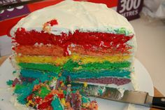 The rainbow cake....lot of effort, but worth it!