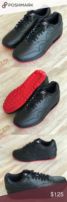 NWT Nike ID Air Max 1 Custom Leather Black On Red Brand new custom made. Price is firm!YOUR ALL-DAY, EVERYDAY AIR MAX  The Nike Air Max 1 gave the world its first glimpse of Nike Air cushioning back in 1987. This premium, customizable version gives you everything you need to make it yours. It's built with a versatile combination of canvas and leather, so you can dress up or down without needing an extra pair. Nike Shoes Sneakers