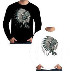 Velocitee Mens Long Sleeve T Shirt Native Indian Chief Evil Skull Western W16919 #Velocitee