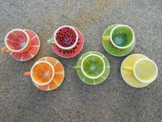 Fruit Teacups -- What a fun idea! Color Me Mine project Pottery Painting Designs, Pottery Designs, Pottery Painting Ideas Easy, Ceramic Painting, Ceramic Art, Bar Deco, Color Me Mine, Keramik Design, Paint Your Own Pottery