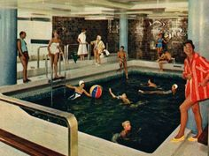 During the ship's crossings, the indoor pool was open