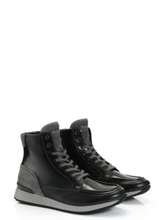 Hogan Rebel - R218 - HXM2180M3704ZT3937 - Hand-polished leather lace-up ankle boots with exposed stitching, suede panels and contrast-coloured outsole. For an urban look. - Split calf leather upperShoelacesTwo-toned rubber outsoleArticle made in suede calfskin with a polyurethane coating which gives it a pull-up effect. The product is delicate and subject to scratching and scraping. Treat with careThe use of the product may cause variations in colour and external appearance o
