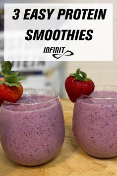 Berry delicious, packed with protein & antioxidants.  Nothing better than blending up some ice cold goodness to cool down the body & jumpstart the recovery process.  The only thing better than a bottle full of INFINIT? A bottle full of INFINIT Protein Smoothies!  We've gathered three of our tried and true protein smoothie recipes that we're sure you'll love. They are easy to make and all use the same ingredients so you can make them in the same week without having to run back and forth from Best Post Workout Protein, Protein Smoothie Recipes, Recovery, Berry, Ice, Good Things, Cold, Canning, Fruit