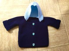 Gilet à capuche bleu marine et ciel 6-12 mois : Mode Bébé par fantazia74