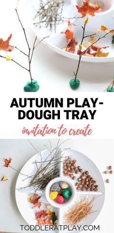 autumn play-dough tray: invitation to create - Toddler at Play