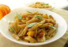 Squash Sage and Goat cheese feta Penne