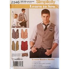 Mens Vests With Trim Variations Simplicity 2346 Sewing Pattern c1632