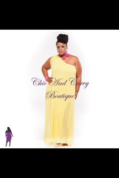 New Plus Size One Shoulder Chiffon Dress in Yellow available at www.chicandcurvy.com