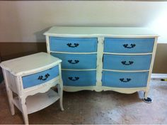 French Provincial Dresser done in chalk paint! body is BEHR polished pearl, Drawers are CeCe Caldwell