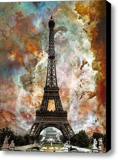 Limited Time Promotion: The Eiffel Tower - Paris France Art By Sharon Cummings Stretched Canvas Print