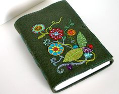 Hand Embroidered, Sketchbook, Notebook - Handbound Journal of Felted Recycled Wool