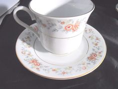 Collector Tea Cup and Saucer Made in China 1987 FTD Antique Gold Trim Mini Roses #FTD