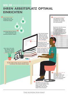 Den Arbeitsplatz optimal einrichten. Grüne Farbe fördert die Kreativität. Lebendige Pflanzen steigern die Produktivität. Den Monitor auf Augehöhe einstellen. Hände, Handgelenke und Unterarme sollten eine gerade Linie bilden und parallel zum Boden liegen. Füße mit der gesamten Sohle auf dem Boden ruhen lassen. Mehr Infos: http://www.werkzeugweber.de/ansprechpartner/ #arbeitsplatz #gestaltung #ergonomie #büroeinrichtung #kaizen #lean