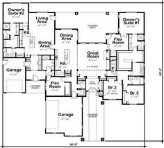 ranch style home Ranch Style House Plan - 4 Beds Baths 3985 Sq/Ft Plan Family House Plans, Ranch House Plans, Best House Plans, Family Houses, Ranch Floor Plans, Duplex Floor Plans, House Floor Plans, 5 Bedroom House Plans, Mother In Law Apartment