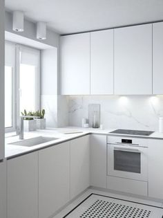 minimalist kitchen All white kitchen inspiration, with fingerpull doors and drawers Modern Kitchen Cabinets, Kitchen Cabinet Design, Interior Design Kitchen, Kitchen Countertops, Kitchen Modern, Kitchen Backsplash, Backsplash Ideas, Kitchen Small, White Countertops