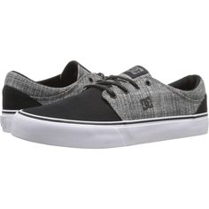 DC Trase TX SE (Black/Heather Grey) Skate Shoes ($36) ❤ liked on Polyvore featuring shoes, black, kohl shoes, black low top shoes, low profile skate shoes, black low tops and skate shoes