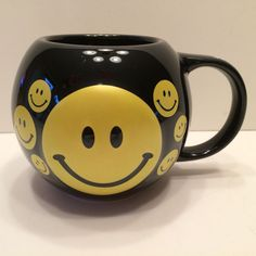 "Bubba Gump Shrimp Black Yellow Smiley Faces ""Stupid is as Stupid Does"" Mug HTF"