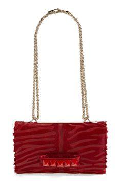 Valentino  Rockstud Va Va Voom - Tiger  Leather   Calf Hair Shoulder Bag  available 255afab16453e