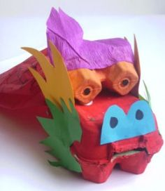 chinese-new-year-craft-dragon from egg cartons