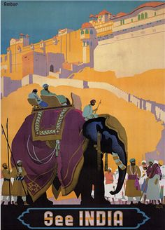 Trademark Global See India, Traditional Canvas Art x Features:Canvas art.Title: See India.Note: Please be aware that actual col Vintage India, Vintage Art, Jaisalmer, Udaipur, Traditional Canvas Art, Image Elephant, Elephant Print, Elephant Poster, India Poster