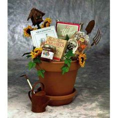 Gardening gift basket. would be great as an idea for a garden party