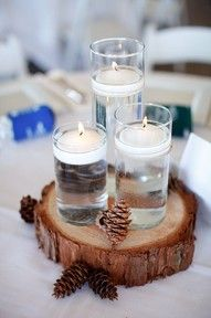 Wood Slice Centerpieces | also want my wedding cake to sit on a tree slice!