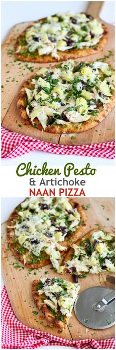 Chicken Pesto Artichoke Naan Pizza - less than 30 minutes! 290 calories and 7 Weight Watchers PP : cookincanuck Pizza Recipes, Chicken Recipes, Cooking Recipes, Healthy Recipes, Skillet Recipes, Recipes With Pesto, Bread Recipes, Cooking Gadgets, Recipe Chicken