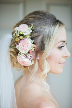 romantic wedding updo with floral