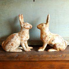 cast iron rabbit garden ornaments or door stops