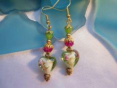Lampwork Heart EarringsSALE USE COUPON by Nezihe1 on Etsy, $17.00