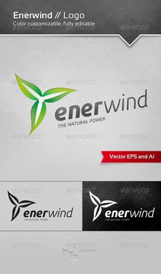 Enerwind / Logo Enerwind Logo is a simple logotype suitable for wind energy company and all Your ideas. The Pack included: - Ai, Color Text, Logo Color, Wind Logo, Nature Logos, Clover Logo, Potato Slices, Print Design, Logo Design, Shopping