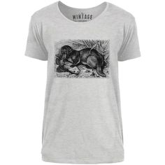 Mintage Otter with Fish Mens Scoop Neck T-Shirt