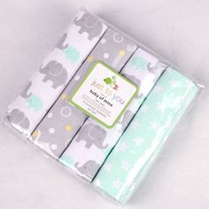 Carter's Flannel Baby Receiving Blankets 4 Piece Bundle for Bathtime and Swaddling