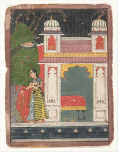 A Heroine Plucking a Flower: from a  Nayikabheda Date: ca. 1660–80  Malwa. India. : Ink and opaque watercolor on paper  8 3/8 x 6 3/16""