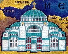 A mosaic of the Hagia Sophia. A mosaic depicting the church at its peak of glory Istanbul, Ancient Greek City, Byzantine Art, Hagia Sophia, Ravenna, Middle Ages, Taj Mahal, Cathedral, Empire