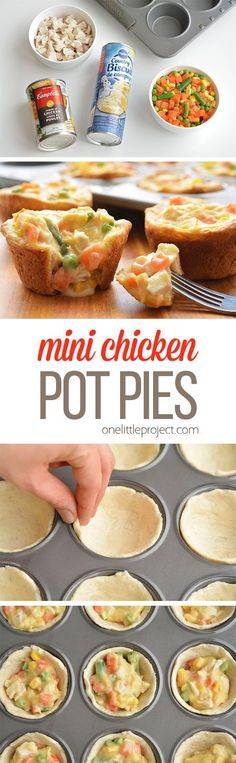 These mini chicken pot pies are SO EASY with only 4 ingredients! Such a fun and delicious 30 minute meal idea when you have a craving for comfort food! Cookies Et Biscuits, Easy Biscuits, Canned Biscuits, Pillsbury Chicken Pot Pie Recipe, Chicken Pot Pie Recipe Crescent Rolls, Recipes With Biscuit Dough, Chicken Pot Pie Recipe With Biscuits, Quick Biscuit Recipe, Biscuit Chicken Pot Pie