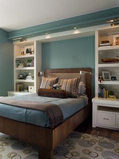 Bookshelves as a bed piece, I'd even take the shelf over the bed too. Master Bedroom Interior, Small Master Bedroom, Home Bedroom, Bedroom Decor, Bedroom Wall, Kids Bedroom, Kids Rooms, Master Bedrooms, Bedroom Furniture