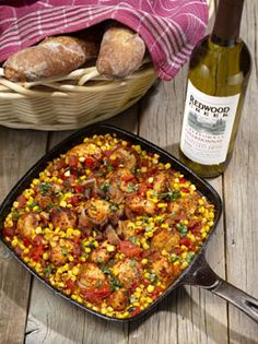 Fiesta Scallops With Crumbled Bacon, Red Pepper & Corn. This yummy looking recipe would be the perfect way to bring that upscale, gourmet touch to your next camping trip! Could easily be prepared at home on the stove or over the campfire, as it is prepared in a cast iron skillet. #yum #food #castiron