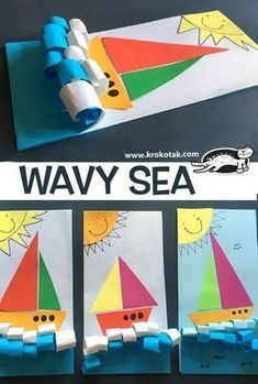 """WAVY SEA: pair with """"How it feels to be a boat"""" book Things that Go - curled paper wavy sea for a boat Wavy sea for Jonah and the Whale. children activities, more than 2000 coloring pages Jesus calms the storm Story of when Jesus calmed the seas, or w Kids Crafts, Daycare Crafts, Sunday School Crafts, Summer Crafts, Toddler Crafts, Craft Kids, Kindergarten Art, Preschool Crafts, Arte Elemental"""