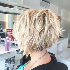blonde short inverted choppy bob