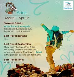 #Zodiac #Aries #amazing #SunSign totally #outgoing & #fun! Here's the #Travel #Personality of #Aries: