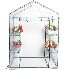 Portable Outdoor 4 Shelves Walk In Greenhouse 3 Tier Green House New