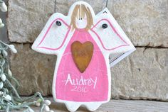 Novelty Gift Salt Dough Angel / Your Town by cookiedoughcreations