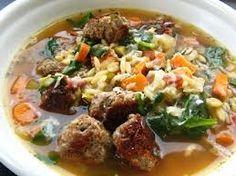 ITALIAN WEDDING SOUP  Carrabba's Copycat Recipe   Soup:  5 1/2 cups chicken stock  10 ounces spinach  4 celery stalks, chopped  1 mediu...