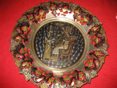 Unique Egyptian Brass Wall Hanger Handcrafted Solid Brass Beautiful Egypt Gods