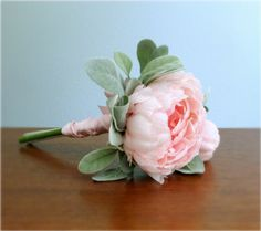 Emma Bouquet - Single Pink Peony with Bud and Lamb's Ear Leaf / Dusty Miller wrapped with Pink Satin, Bridal or Bridesmaid Bouquet, #spirngwedding #summerwedding #PosiesPearls