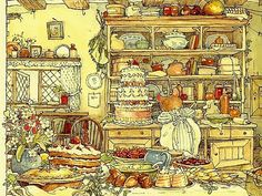 By Jill Barklem.  Baking day at Miss Mousies' house.