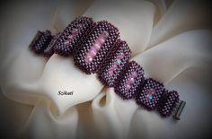 Beadwoven Violett Armband Manschette Armband Seed Bead von Szikati